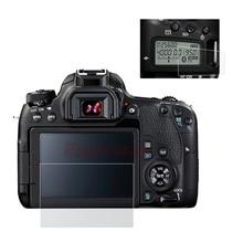 Self กาวแก้ว/พลาสติกฟิล์มสำหรับ Canon EOS 77D หลัก + ข้อมูลไหล่ด้านบน LCD