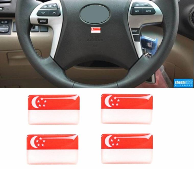 100pcs National Singapore Flags Car Window Door Handle Steering Wheel Audio Phone Emblems Singapore Flag Car