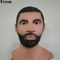 New!!! Artificial Man Latex Mask Overhead Wigs beard Full Human Skin Disguise Prank Halloween makeup costume Realistic silicone