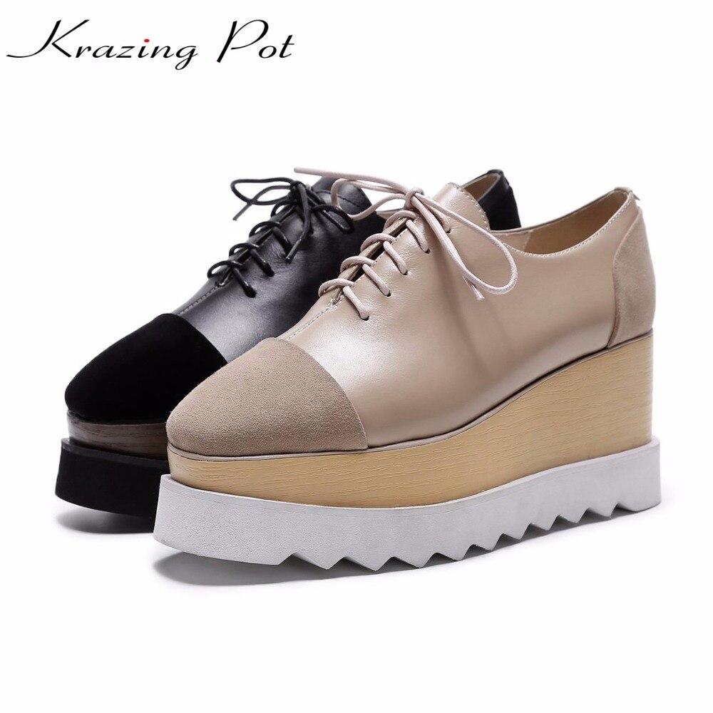 Krazing Pentola 2018 scarpe di marca kid camoscio pelle di mucca di alta scarpe tacchi donna autunno inverno pompe della piattaforma di alta qualità L12