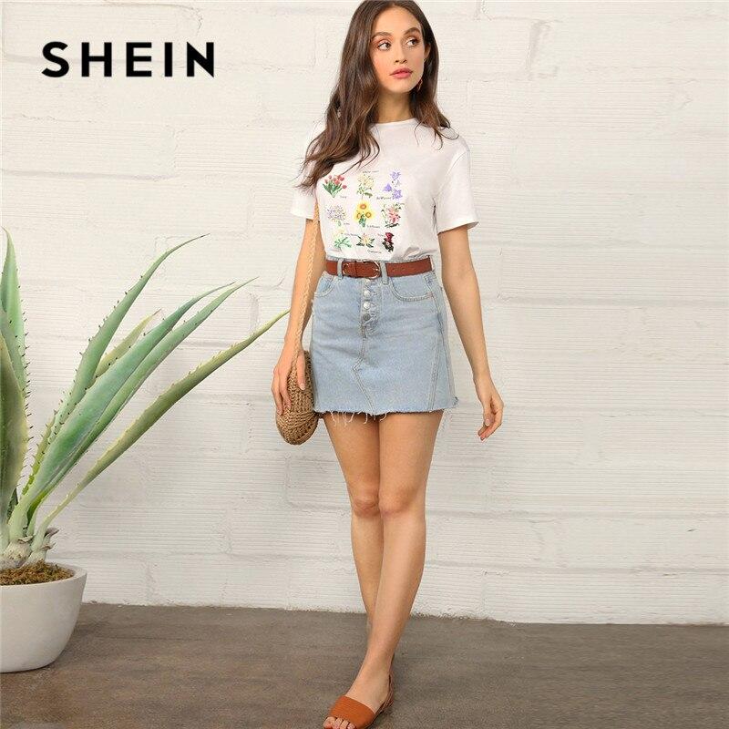 45995380ddce SHEIN Botanical Floral Print Short Sleeve T Shirt Women Casual Round Neck  Regular Summer Top 2019