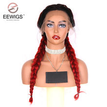 EEWIGS Double Braids Long Hair Dark Roots Ombre Red Synthetic Lace Front Wig Women's Braided Heat Resistant Handmade Long Wig(China)