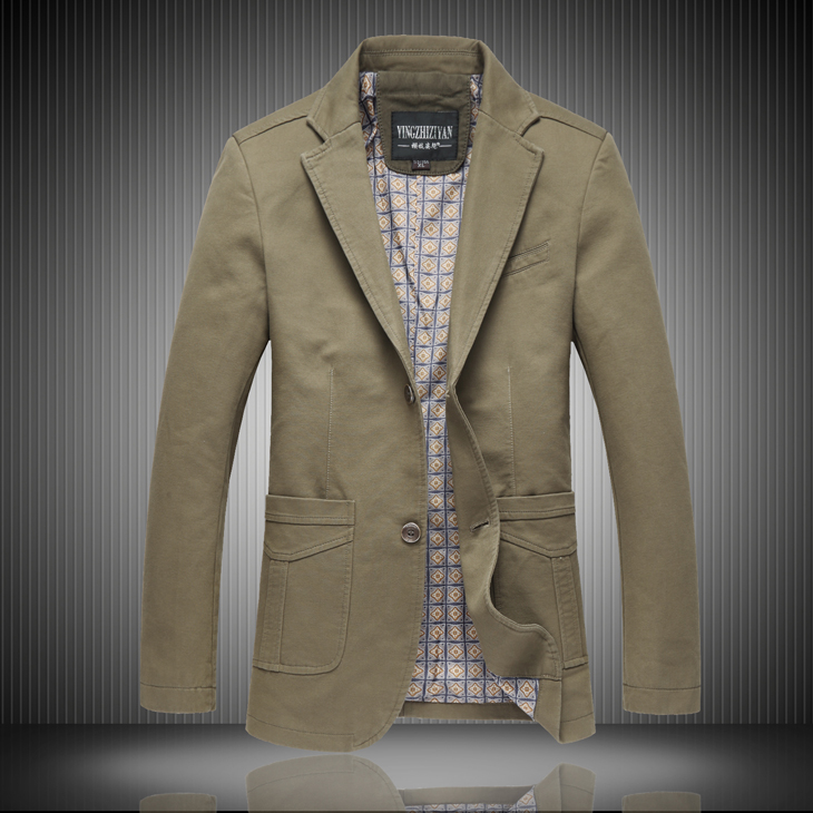 Spring mens suit jacket, middle-aged mens business suits, two buckle single-breasted Pure color cotton large size suit male
