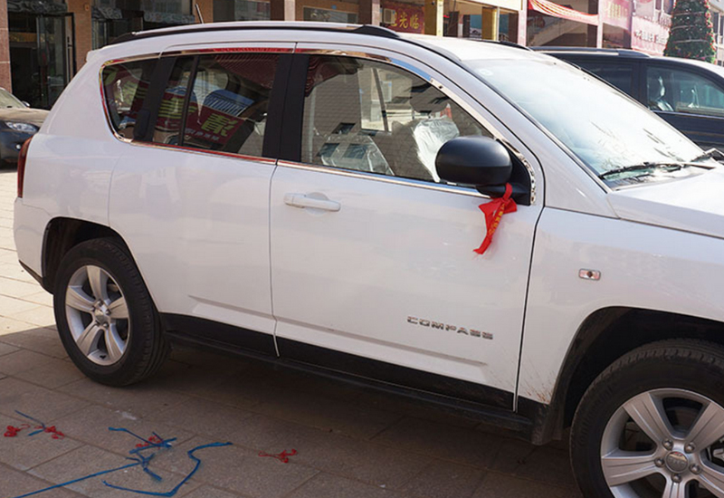 Car Chrome Full Window Sill Molding Trim Cover Trim For Jeep Compass 2011-2015