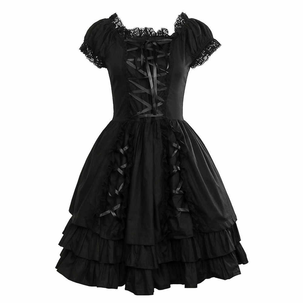 6374f87bc49 Takerlama женские классические черное Кружево-Up хлопок короткий рукав  Готическая Лолита платье панк Костюмы костюмы