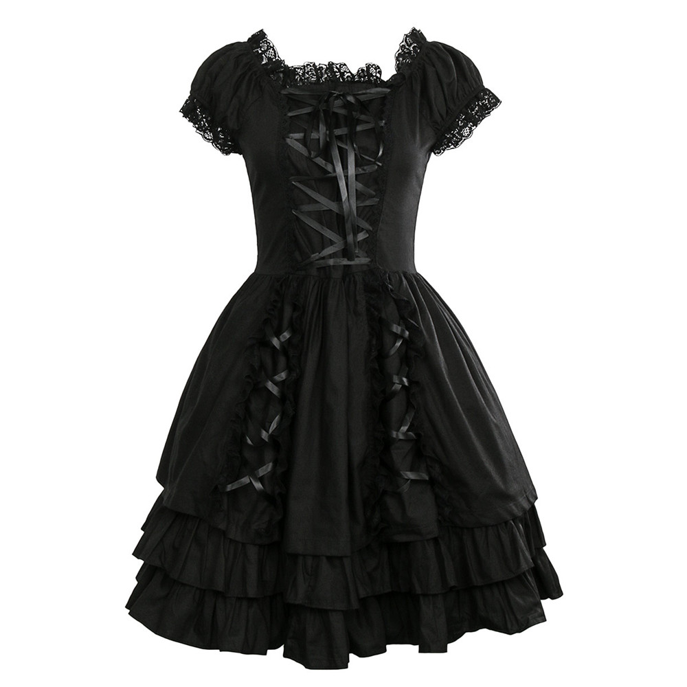 Takerlama femmes classique noir à lacets en couches coton à manches courtes gothique Lolita robe Punk vêtements Costumes robe