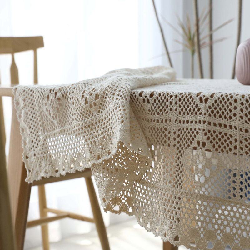 Pastoral Handmade Crochet Lace Tablecloth Cover Towel Cotton Woven Openwork Kitchen Table Cloth Piano Cover Cloth Manteles image
