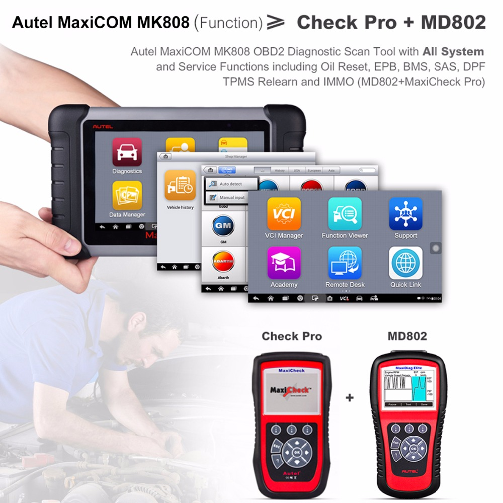 Image 3 - Autel MaxiCOM MK808 MX808 Automotive Scanner OBD2 OBDII Car Diagnostic Scanner Universal Tool Full Systems Auto Code Reader ABS-in Multimeters & Analyzers from Automobiles & Motorcycles