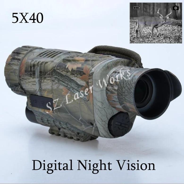 Kann Bilder Machen Video Zum F/ür Den Au/ßenbereich Jagd OMLTER Monokulare Digitale Nachtsicht 5X40