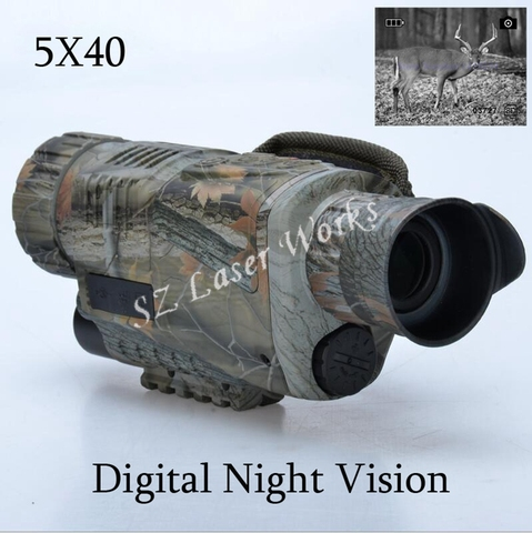 Óculos de Visão Fotos e Vídeo com Tft Lcd para Caça Camuflagem Digital 5×40 Infravermelhos Noturna Monocular Night Vision Scope Tira