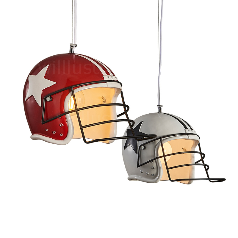 modern helmet pendant lamp resin material lighting dinning room restaurant hotel loft showcase football helmet suspension light