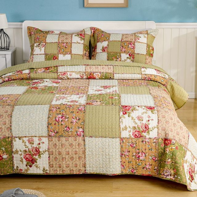 Marvelous CHAUSUB Floral Patchwork Quilt Set 3pc Cotton Quilts Quilted Bedspread Bed  Cover Sheets Pillowcase Coverlet King