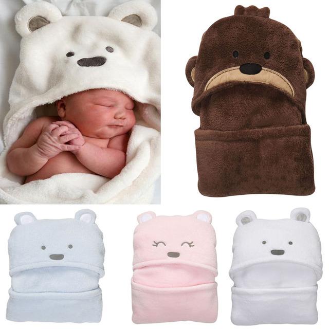 Forma Animal Bebê Com Capuz Roupão de Banho Do Bebê Roupão de Banho Do Bebê Toalha de Banho Cobertores Neonatais Segurar A Ser