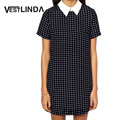 VESTLINDA Casual Dress 2017 Summer Fashion Women Black Plaid Dress Short Sleeve Turn-down Collar Mini Dresses Women Vestidos