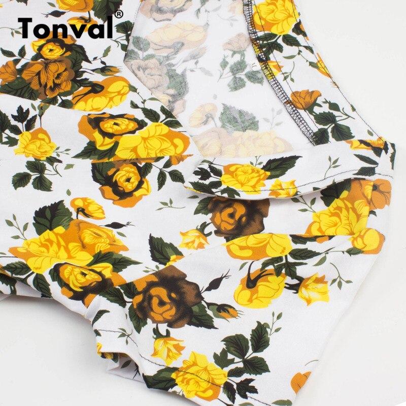 Tonval Elegant Yellow Flowers Dress Retro Women Short Sleeve Vintage Floral Dresses Hepburn Style Cotton Swing Dress