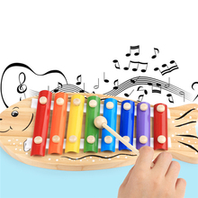 Cartoon Wooden Small Fish 8 Key Notes Toys Children s Music Steel Sheet Hand Knocking Piano