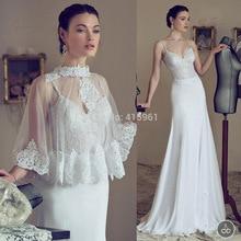 Vestido De Noiva Ivory Lace Wedding Bridal Dresses Mermaid Straps Backless Vestidos with Shawl 2015 W3484