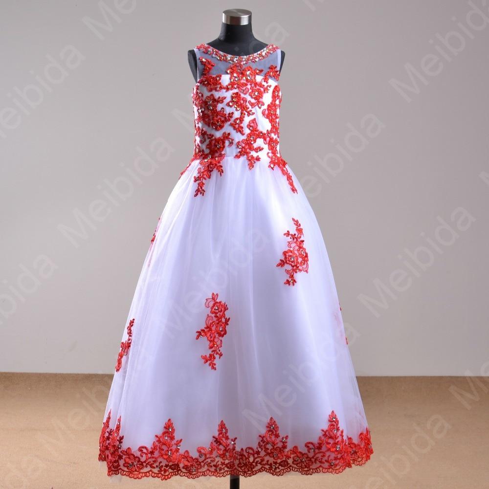 Vestido rojo con blanco para nina