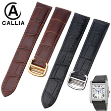 CALLIA Watch Band For Tank Solo 100 Watch Strap men Genuine Calf Hide Leather High Quality Accessories Watchband 20mm 18mm