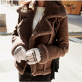 Dark yellow ladies leather jacket with fur 2016 new winter leather jackets and coats faux sheepskin suede motorcycle coat women