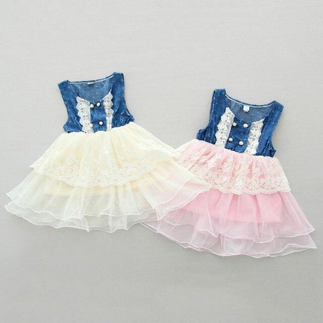 0b4c9d5a6 جميل بنات جينز البلوز اللباس الصيف الدانتيل الطبقات الأميرة فساتين حزب  البسيطة vestido الأزهار الملابس