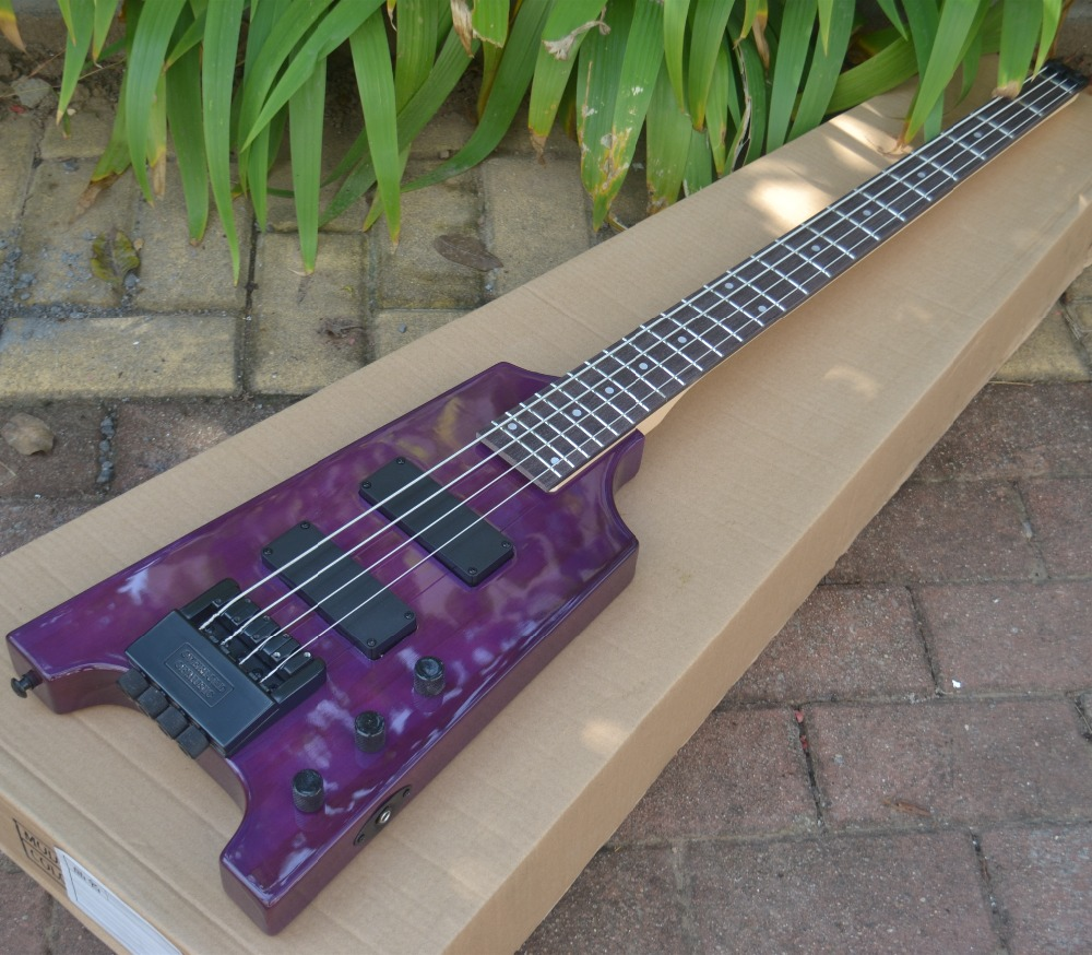 new 4 strings headless electric bass guitar purple BJ 85