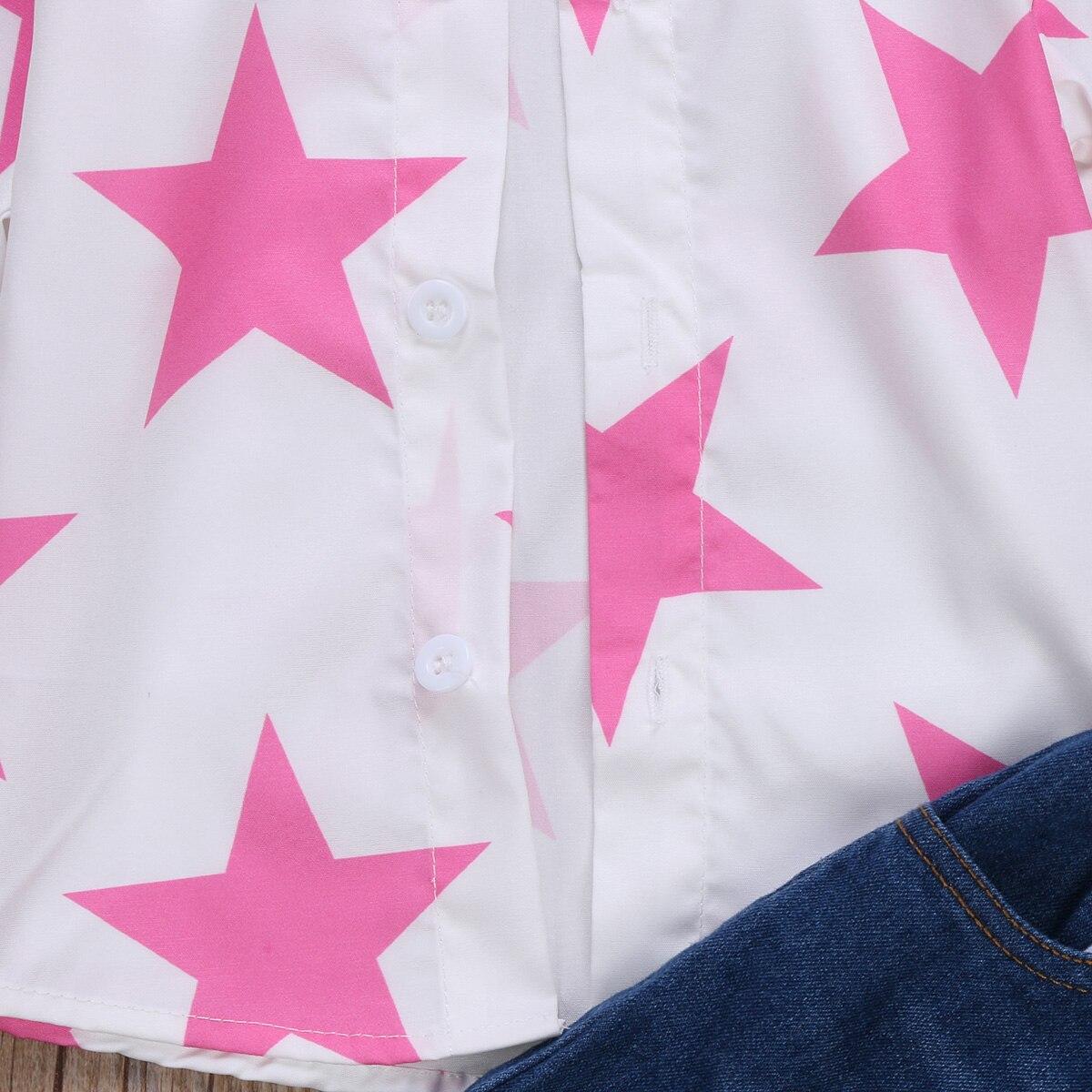 91552cad387d3 PUDCOCO Marque Vêtements Enfant Enfants Fille Étoiles Motif Mode T shirt  Tops Déchiré Jeans Vêtements Pantalon Tenues Set 0 6Y dans Vêtements  Ensembles de ...