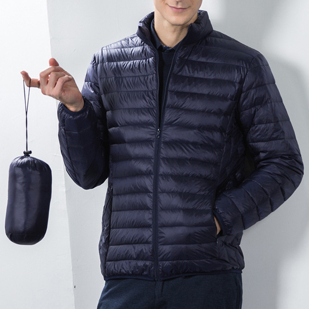 Mens Winter Coat with Hood Waterproof.Mens Fashion Winter Pure Color Foldable Stand Collor Cotton Down Jacket Coat