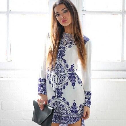 2019 Summer Autumn White Blue Porcelain Long Sleeve Loose Casual Mini  Keyhole Back Hem Tile Prints Plus Size Shift Vestido Dress 12d185b813ce