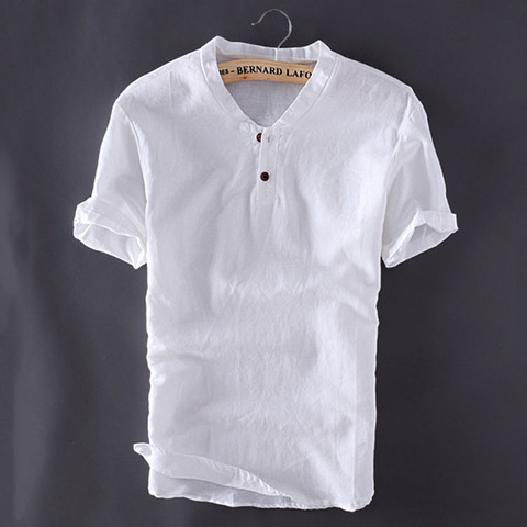 2018 Men Pullover Linen Shirts Short Sleeve Summer Breathable Men Quality Casual Shirts Slim fit Solid Cotton shirts men Islamabad