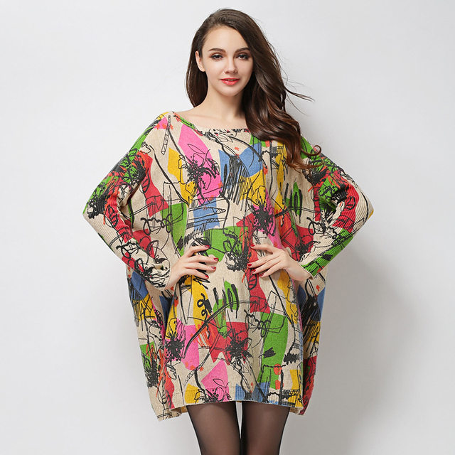 US $19.78 47% OFF|Autumn Winter Women Wool Dresses Plus Size Long Sleeves  Loose Tops Graffiti Print Women Sweater Oversized Knitting Dress 6016-in ...