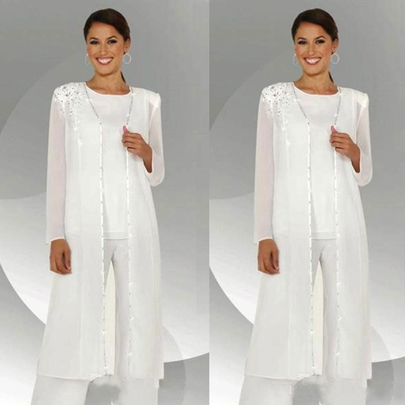 US $114.4 20% OFF|White Three Pieces Mother Of The Bride Pant Suits Long  Sleeves Jackets Wedding Guest Dresses Plus Size Mothers Groom Gowns-in  Mother ...