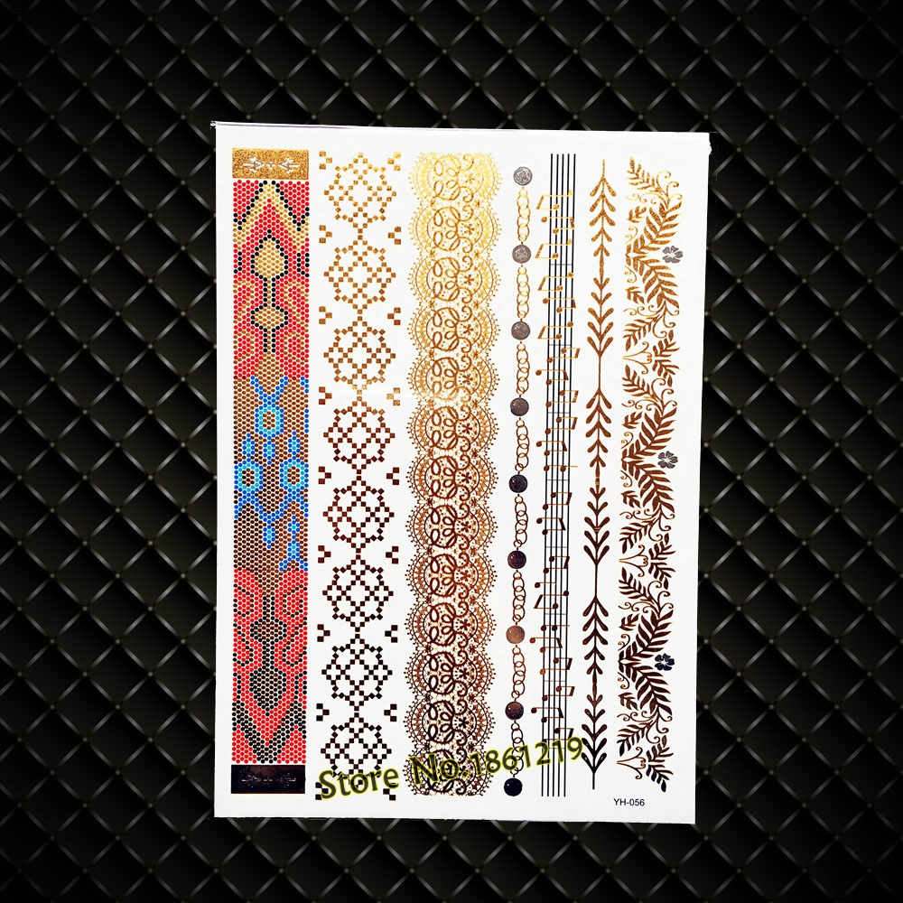 Leopard Print Sexy Gold Metallic Temporary Tattoo, Panther pattern Henna Flash Waterproof Tattoo, 21x15CM Leaf Music Tatoo Jewel