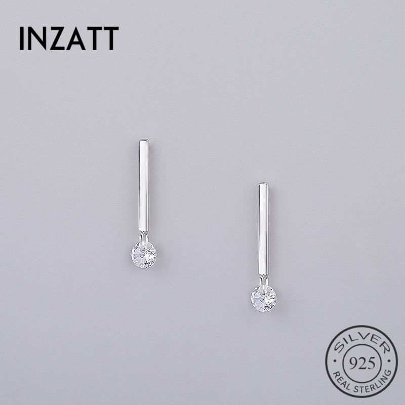 INZATT OL Minimalist Stick Bar Zircon Stud Earrings 2018 100% 925 Sterling Silver Fine Jewelry For Women Party Trendy Accessorie