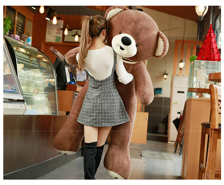 huge plush brown teddy bear toy big love scarf bear doll gift about 180cm new stuffed light brown squint eyes teddy bear plush 220 cm doll 86 inch toy gift wb8316