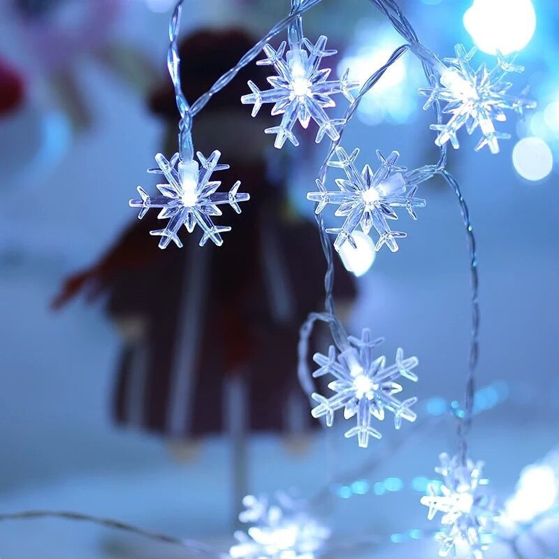 <font><b>10M</b></font> <font><b>100LED</b></font> <font><b>220V</b></font>/110V Snowflake String Light Christmas Garland Fairy Curtain Lamp Indoor/Outdoor For Holiday Wedding Party Decor image