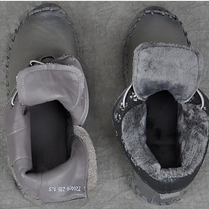 Stiefel Add Flache gray slip black Herbst Weibliche Warme Boden Nicht grau Freizeit Stiefel Ferse Schwarzes Weichen Winter Leder Fluff Kurze Baumwolle Fluff 6zUwRqzFB