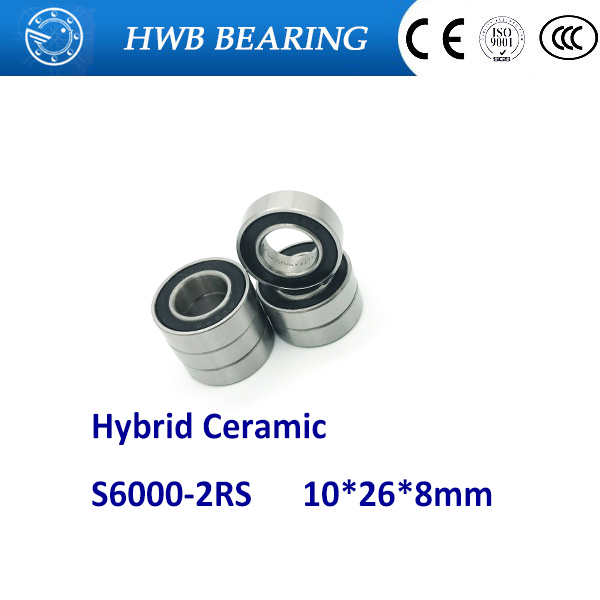 Free shipping S6000-2RS S6000 RS For 10X26X8mm Stainless Steel Hybrid Ceramic ball bearing 6000-2RS free shipping wheel hub bearing 15267 2rs 15 26 7mm 15267 rs stainless steel si3n4 hybrid ceramic bearing