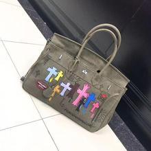 3d2946735f Canvas Military Navy Green Lock Platinum Tote Bag Portable Graffiti DIY  Messenger Bag Ladies  Hand