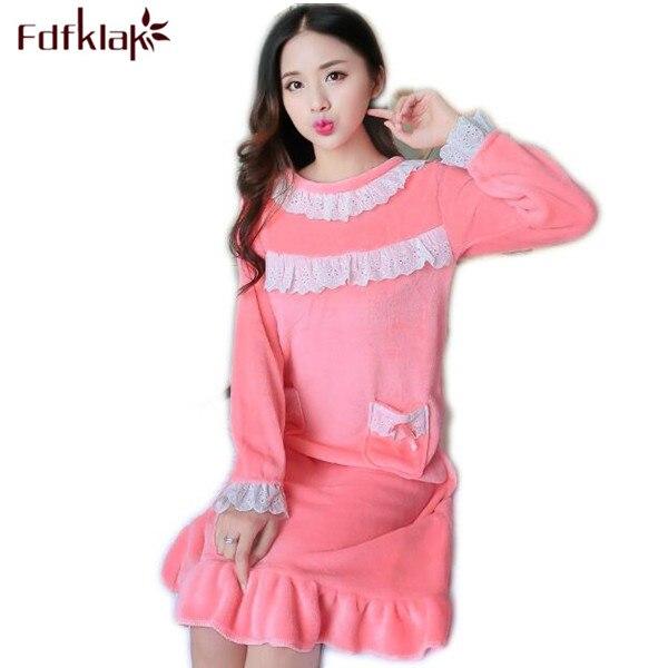 8970efd8f36a Fdfklak Flannel Winter Nightgown Is Long Nighties For Women Sleepwear Dress  Nightdress Cotton Women Nightwear Pink Purple Q450