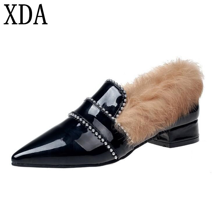 XDA 2018 Winter Women wool Flats Shoes Woman Fashion Thickening Warm shoes Slippers Women's Shoes Casual Loafers fashion woman s striped beanies hat 2016 new autumn winter knitted warm wool casual girl cap for woman skullies chapeu feminino