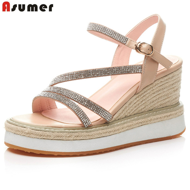 Asumer 2018 fashion summer shoes woman buckle bling elegant wedding shoes platform wedges sandals women genuine leather shoes xiuningyan women sandals 2018 new fashion casual shoes comfortable wedges sandals platform genuine leather woman summer shoes