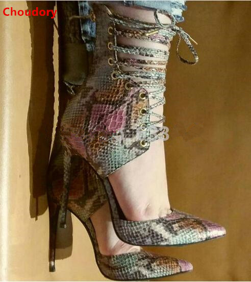 Colorful snakeskin pattern pointed toe cut-outs high heels women pumps cross-tied lace up stiletto heel pumps women brand heels