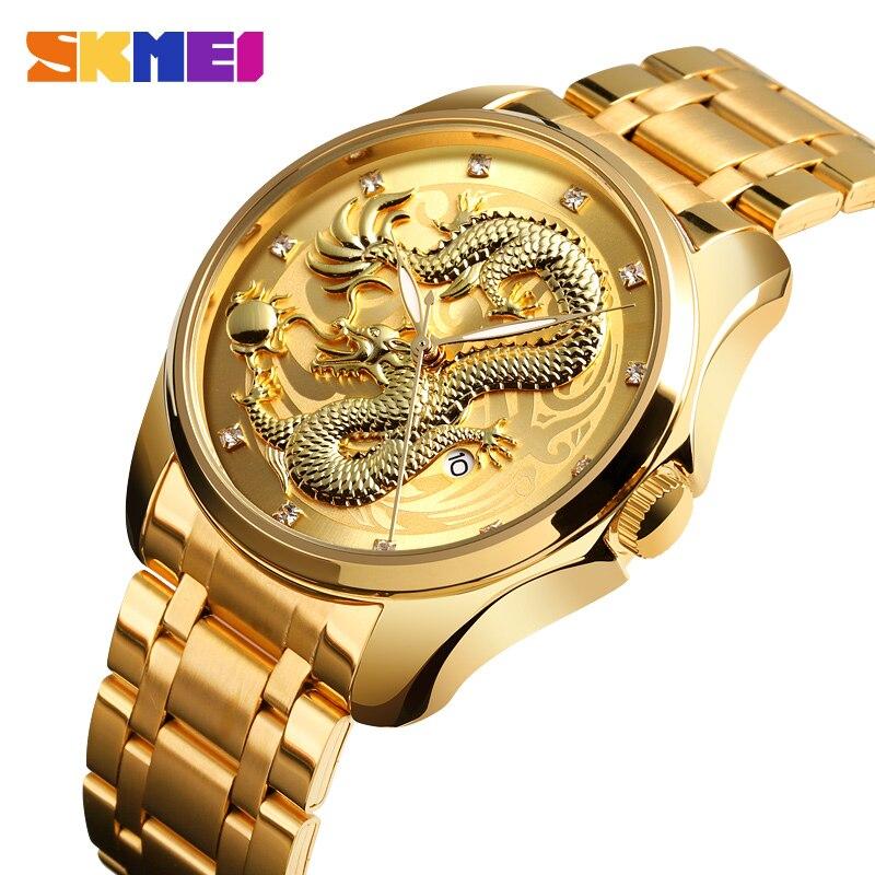 SKMEI Mens Watches Top Brand Luxury Golden Quartz Watch Men 3Bar Waterproof Date Display Stainless Steel Strap Wristwatches 9193