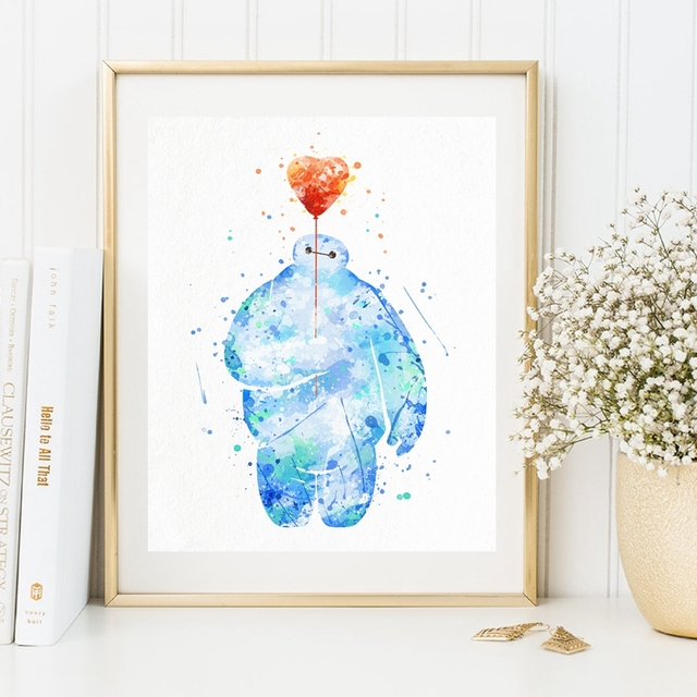 Watercolor Baymax Poster Canvas Art Print Hero 6 Painting Baby Nursery