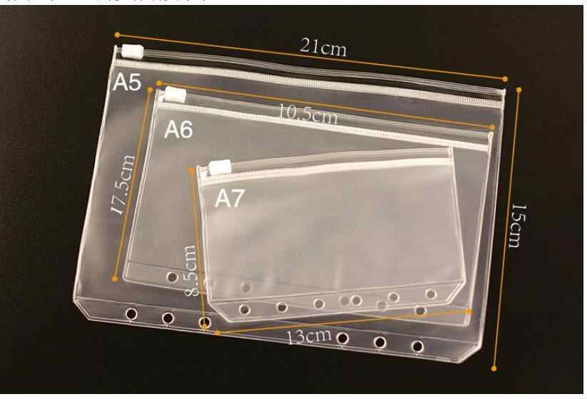PVC Transparent Business Cards Notes Pouch Planner Storage Bag for Traveler's Notebook Diary Day Planner Zipper Bag