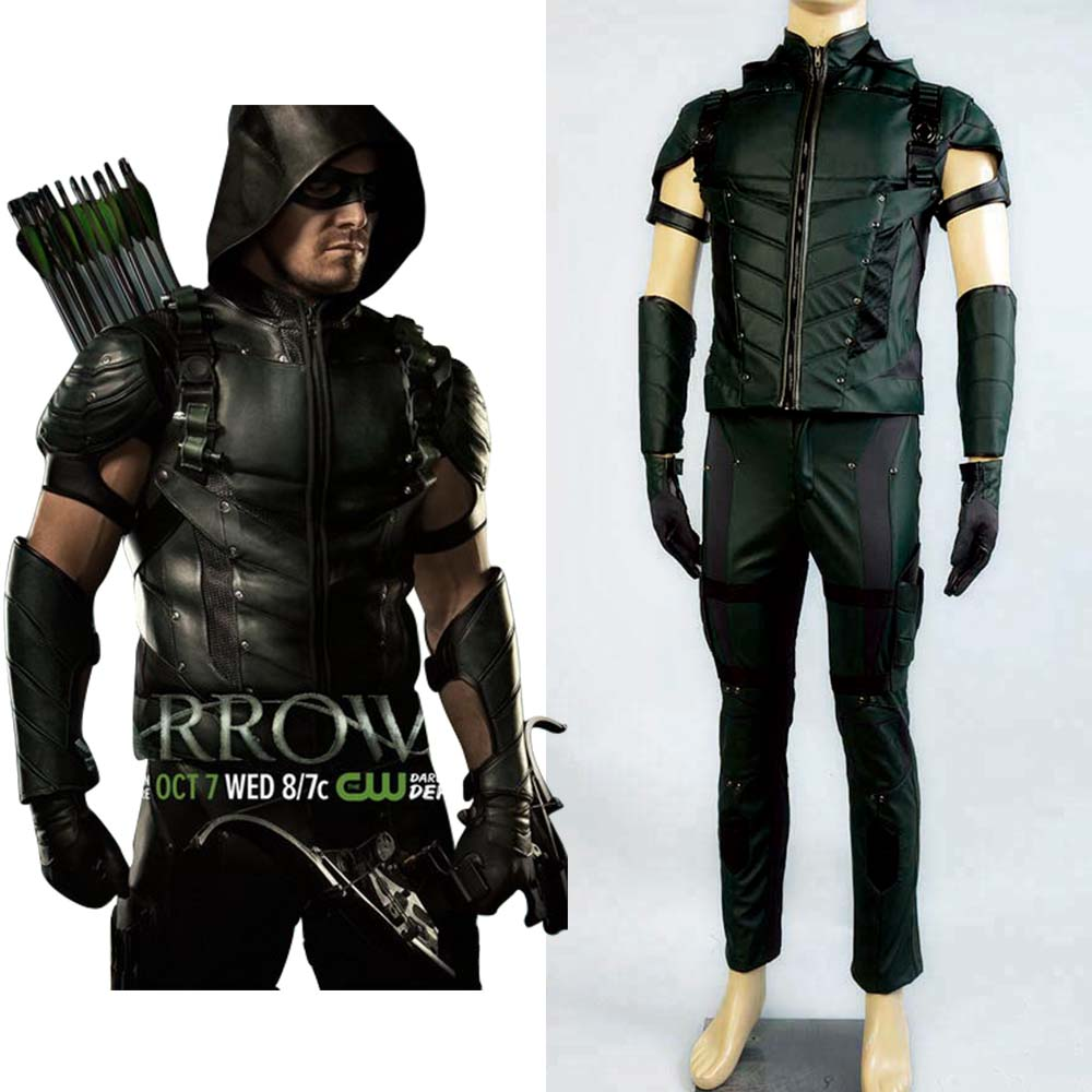Green Arrow season 4 Cosplay Costume Superhero Oliver Queen green arrow Costume Leather Full Set Suit Halloween Costumes For Men