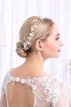LISM Bridal Handmade Peal Soft Flower Headband Beautiful Wedding Dress  Bridal Tiara Hair Comb Acceossories