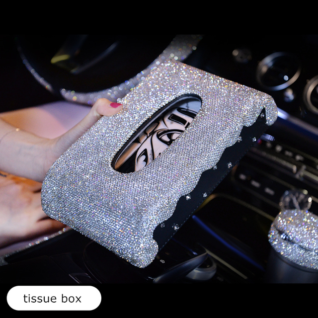 diamond rhinestone crystal car steering wheel cover leather decoration pendant ornaments tissue box women girls car accessories