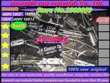 Aoweziic 20 piezas 400 V 10 UF 10X13 condensador electrolítico resistente a altas temperaturas 10 UF 400 V 10X13